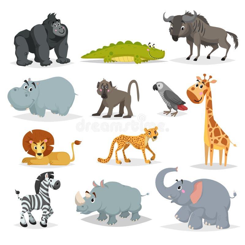 αφρικανικό χαριτωμένο σύνολο κινούμενων σχεδίων ζώων Πίθηκος γορίλλων, κροκόδειλος, πιό wildebeest, hippo, baboon, γκρίζος παπαγά απεικόνιση αποθεμάτων