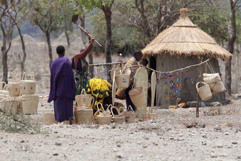 Αφρικανικό χωριό στη Μποτσουάνα στοκ εικόνες