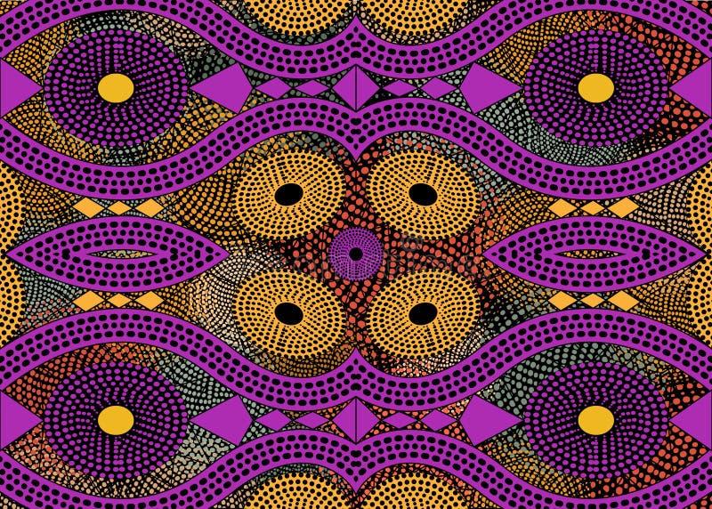 Αφρικανικό ύφασμα τυπωμένων υλών, εθνική χειροποίητη διακόσμηση για εθνικών και φυλετικών μοτίβων γεωμετρικά στοιχεία σας τα σχεδ διανυσματική απεικόνιση