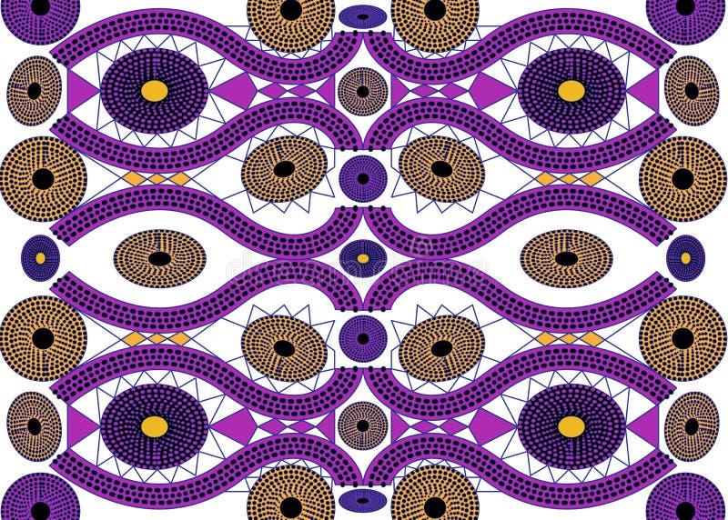 Αφρικανικό ύφασμα τυπωμένων υλών, εθνική χειροποίητη διακόσμηση για εθνικών και φυλετικών μοτίβων γεωμετρικά στοιχεία σας τα σχεδ απεικόνιση αποθεμάτων