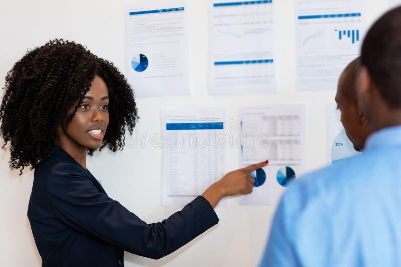Αφροαμερικάνος businessteam που μιλά για τη στρατηγική στοκ εικόνα