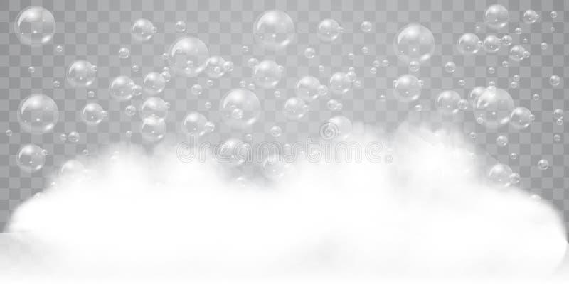Αφρός σαπουνιών με το ρεαλιστικό υπόβαθρο φυσαλίδων για το σχέδιό σας Έννοια απορρυπαντικού ή σαμπουάν πλυντηρίων λουτρών διάνυσμ ελεύθερη απεικόνιση δικαιώματος