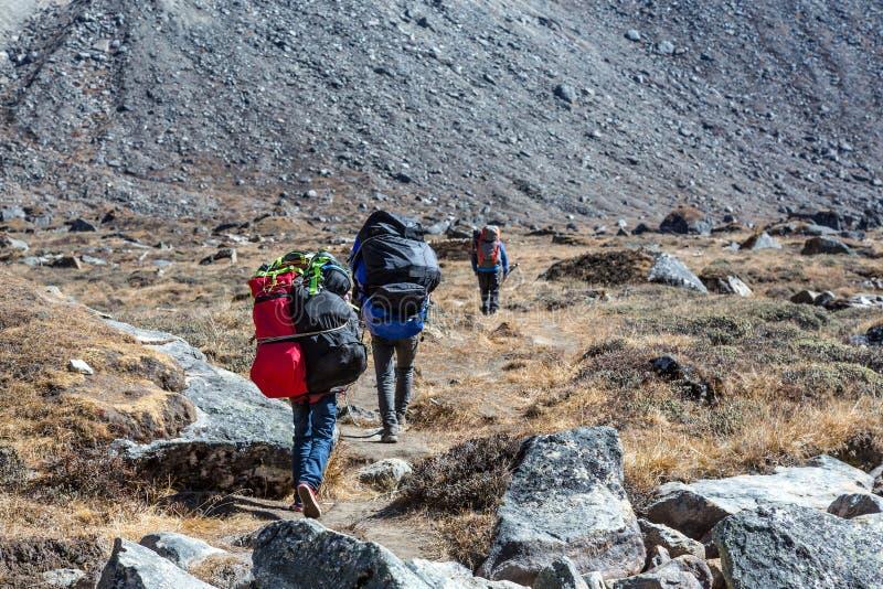Αχθοφόροι Sherpa που φέρνουν τα μέρη των βαριών αποσκευών στοκ φωτογραφίες
