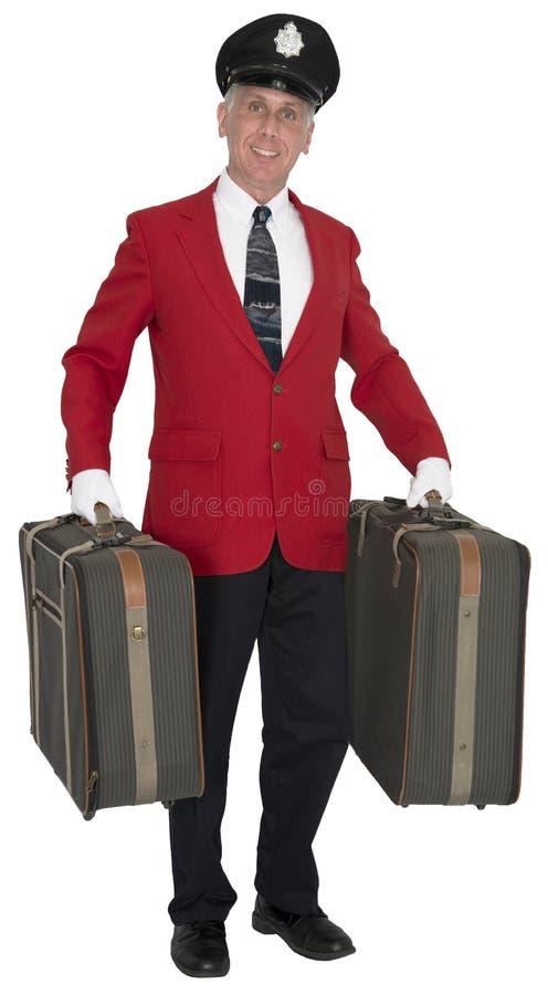 Αχθοφόρος, αχθοφόρος, Doorman, υπάλληλος ξενοδοχείων, που απομονώνεται στοκ εικόνα