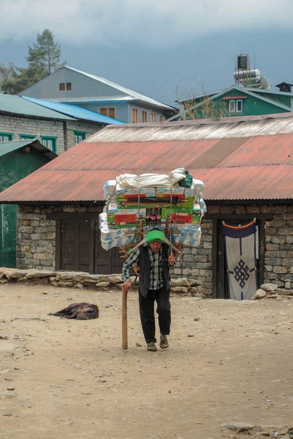 Αχθοφόρος Sherpa που φέρνει ένα βαρύ φορτίο στο Νεπάλ στοκ εικόνα
