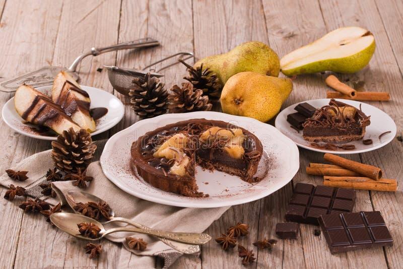 Αχλάδι και σοκολάτα ξινά στοκ εικόνες