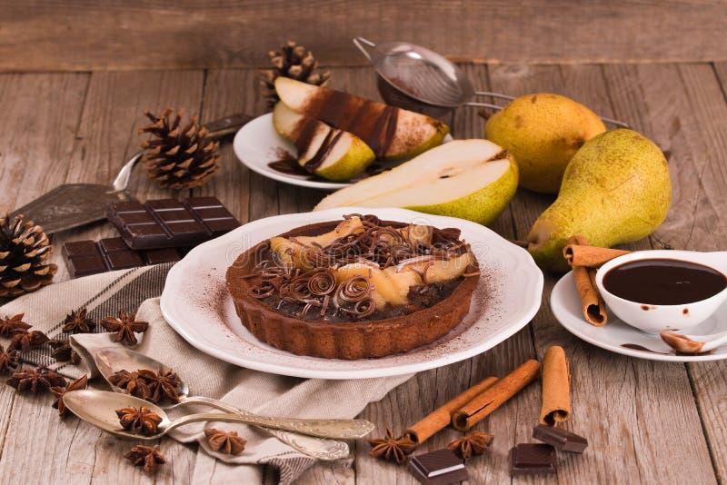Αχλάδι και σοκολάτα ξινά στοκ εικόνα