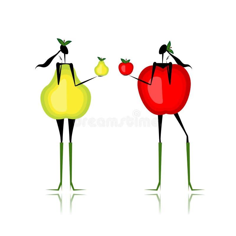 Αχλάδι και μήλο, τύπος θηλυκού αριθμού ελεύθερη απεικόνιση δικαιώματος