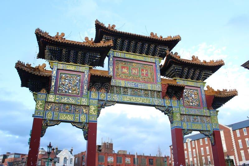Αψίδα στην είσοδο σε Chinatown, Λίβερπουλ, Μέρσευσαϊντ στοκ εικόνα