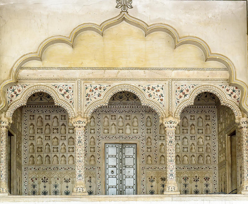 Αψίδες μέσα στο κόκκινο οχυρό, Agra, Ινδία στοκ φωτογραφίες
