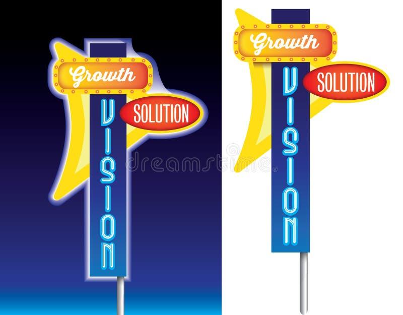 Αύξησης, οράματος και λύσης παλαιά διαφήμιση σημαδιών ύφους αναδρομική ελεύθερη απεικόνιση δικαιώματος