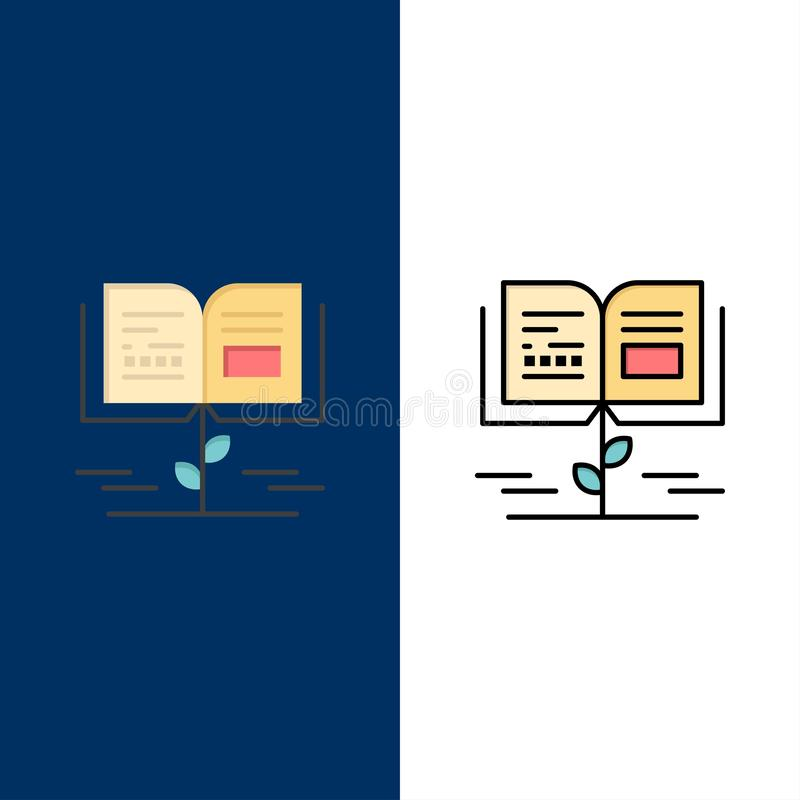 Αύξηση, γνώση, γνώση αύξησης, εικονίδια εκπαίδευσης Επίπεδος και γραμμή γέμισε το καθορισμένο διανυσματικό μπλε υπόβαθρο εικονιδί διανυσματική απεικόνιση