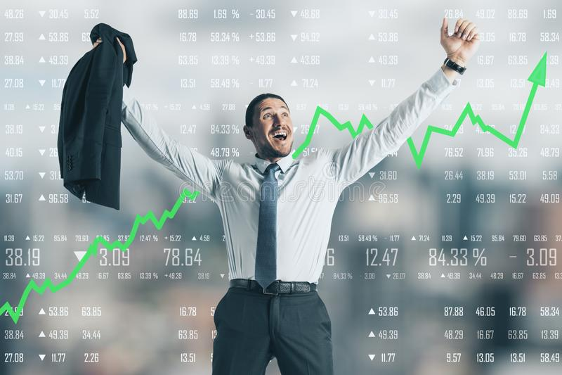 Αύξηση, εμπόριο και stats έννοια στοκ εικόνα