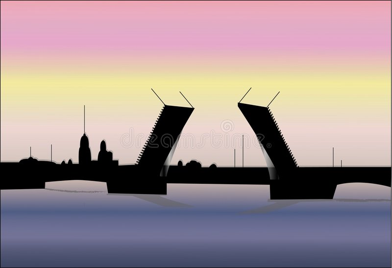 Download αύξηση της Πετρούπολης γεφυρών Διανυσματική απεικόνιση - εικονογραφία από νύχτα, ορόσημο: 1547915