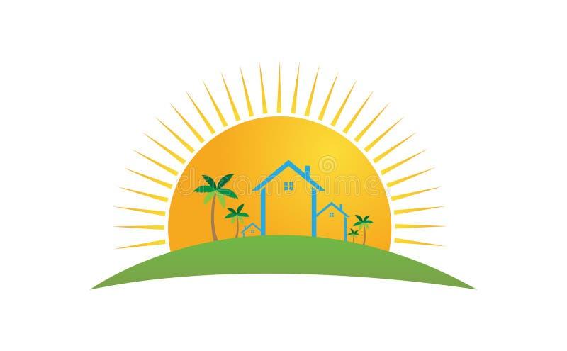 Αύξηση του ήλιου, του σπιτιού και των φοινίκων ελεύθερη απεικόνιση δικαιώματος