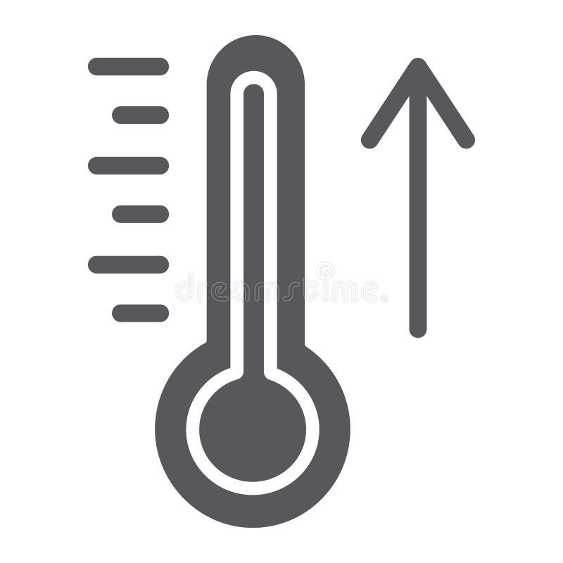 Αύξηση του εικονιδίου θερμοκρασίας glyph, του καιρού και του κλίματος, σημάδι θερμομέτρων, διανυσματική γραφική παράσταση, ένα στ απεικόνιση αποθεμάτων