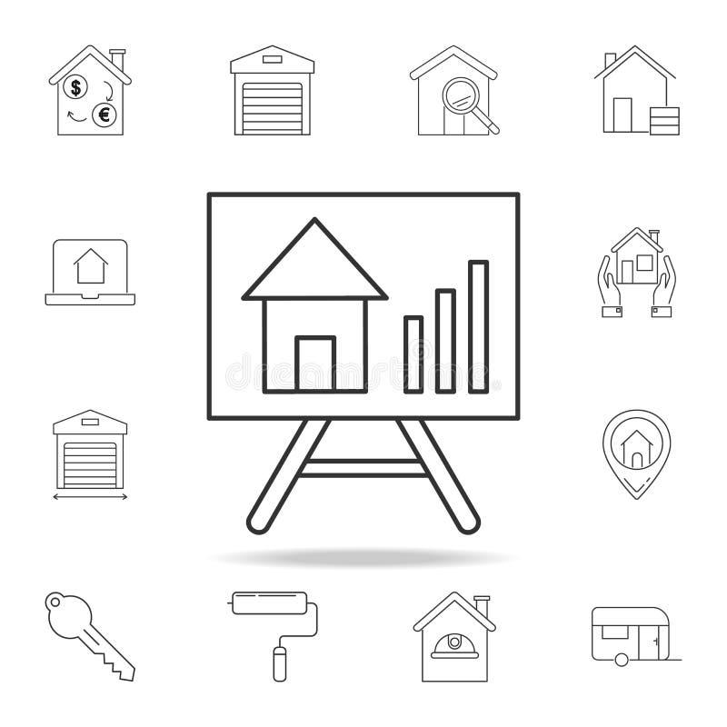 Αύξηση του εικονιδίου τιμών ακίνητων περιουσιών Σύνολο εικονιδίων στοιχείων ακίνητων περιουσιών πώλησης Γραφικό σχέδιο εξαιρετική απεικόνιση αποθεμάτων
