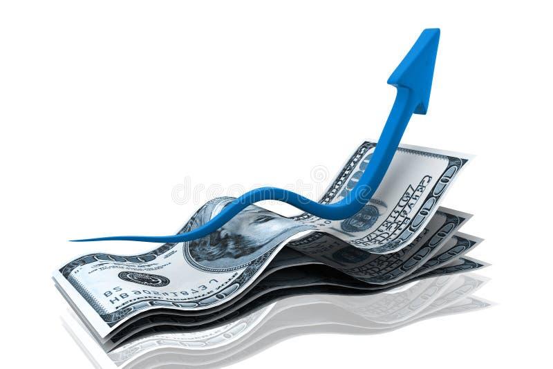 αύξηση χρημάτων διαγραμμάτω&nu διανυσματική απεικόνιση