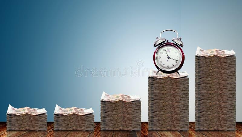 Αύξηση χρημάτων μετρητών με το χρόνο στοκ φωτογραφίες