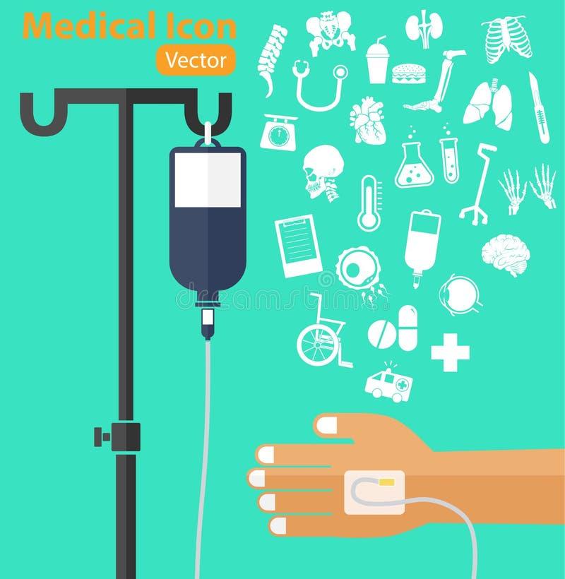 Αλατούχος τσάντα λύσης με τον πόλο, υπομονετικό χέρι του s, IV σωλήνας, ιατρικό εικονίδιο ελεύθερη απεικόνιση δικαιώματος