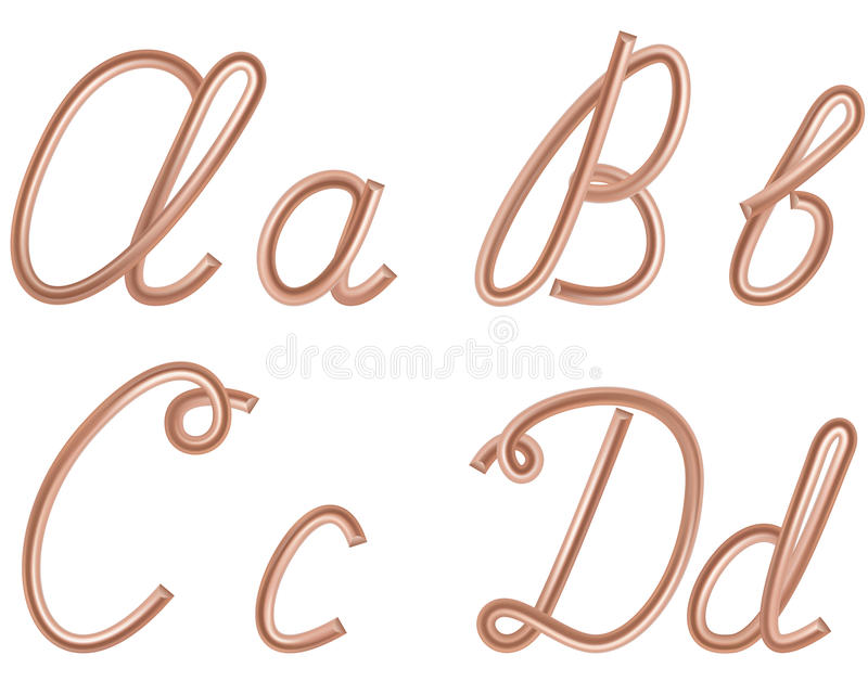 Α, Β, Γ, διανυσματικές επιστολές Δ φιαγμένες από καλώδιο χαλκού μετάλλων. διανυσματική απεικόνιση