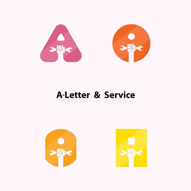 Α-επιστολές και ανθρώπινο εικονίδιο χεριών με το διανυσματικό σχέδιο λογότυπων γαλλικών κλειδιών tem διανυσματική απεικόνιση