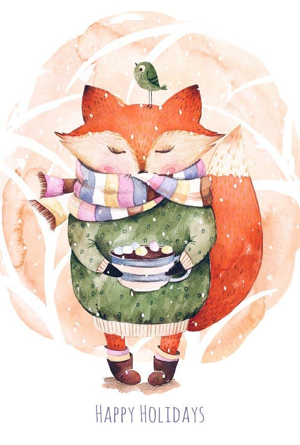 Αλεπού και πουλί στο watercolor ελεύθερη απεικόνιση δικαιώματος