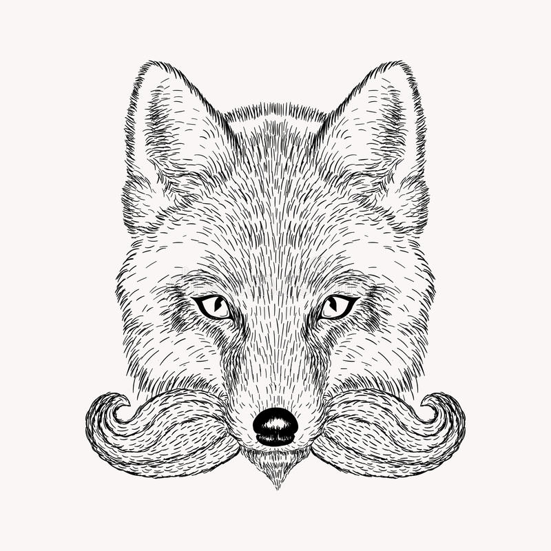 Αλεπού σκίτσων με μια γενειάδα και moustache διανυσματική απεικόνιση