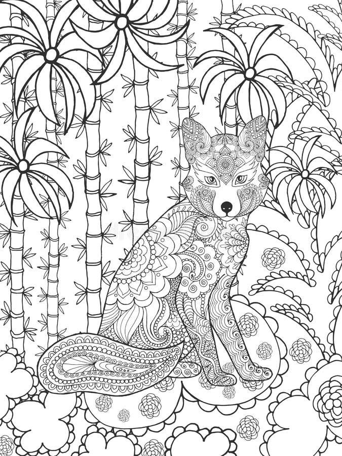 Αλεπού στον κήπο φαντασίας διανυσματική απεικόνιση