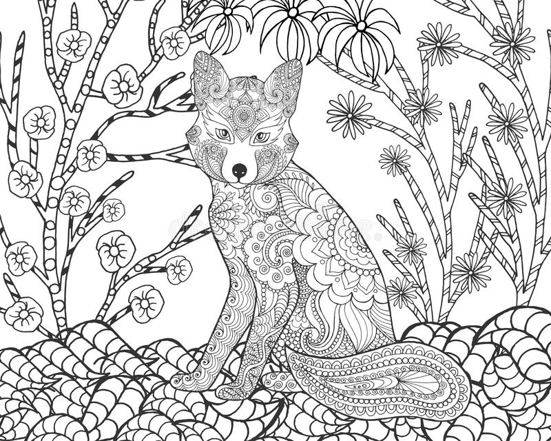 Αλεπού στο δάσος φαντασίας απεικόνιση αποθεμάτων