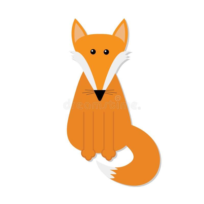 αλεπού Χαριτωμένος χαρακτήρας κινουμένων σχεδίων Δασική ζωική συλλογή Άσπρη ανασκόπηση απομονωμένος Επίπεδο σχέδιο απεικόνιση αποθεμάτων