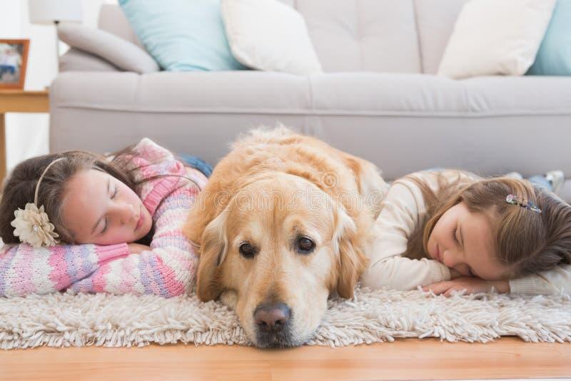 Αδελφές κοιμισμένες στην κουβέρτα με χρυσό retriever στοκ φωτογραφία