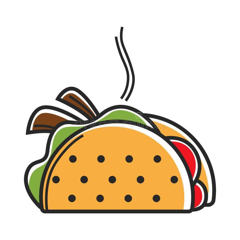 Αληθινό καυτό μεξικάνικο taco με την εύγευστη γεμίζοντας απεικόνιση ελεύθερη απεικόνιση δικαιώματος