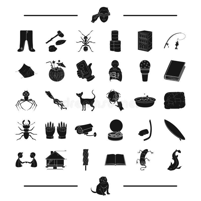 Αλιεία, πλυντήριο, έντομο και άλλο εικονίδιο Ιστού στο μαύρο ύφος επιδόρπιο, εικονίδια αρχιτεκτονικής στην καθορισμένη συλλογή απεικόνιση αποθεμάτων