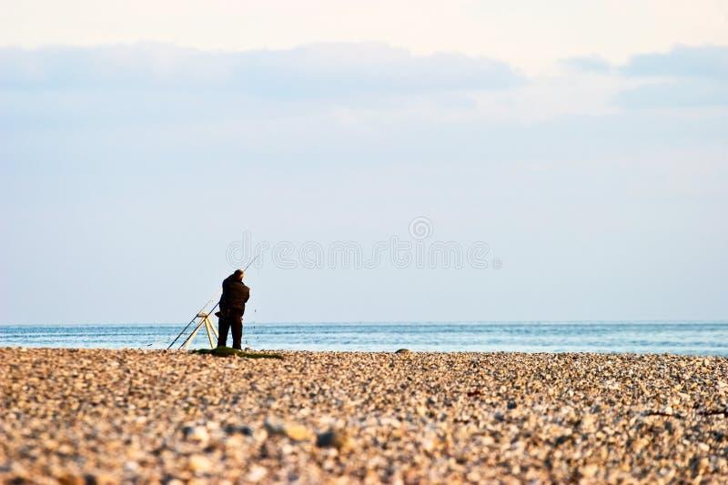Αλιεία στην παραλία στοκ εικόνα