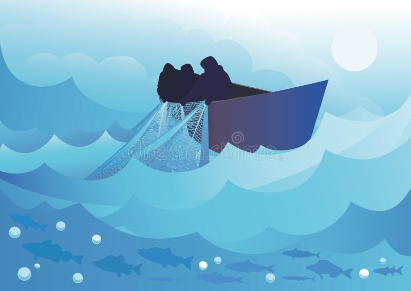 Αλιεία στη θάλασσα ελεύθερη απεικόνιση δικαιώματος