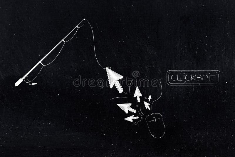 Αλιεία της ράβδου που πιάνει το δείκτη από ένα ποντίκι υπολογιστών με Clickbai απεικόνιση αποθεμάτων