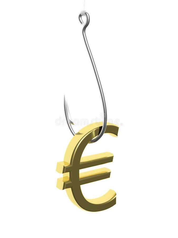 Αλιεία του γάντζου με το ευρο- σημάδι διανυσματική απεικόνιση