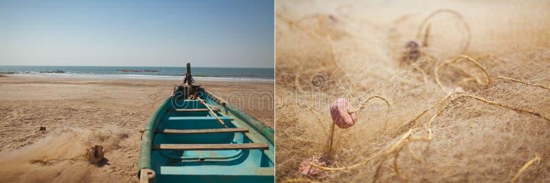Αλιευτικό σκάφος και δίχτυα στοκ εικόνες με δικαίωμα ελεύθερης χρήσης
