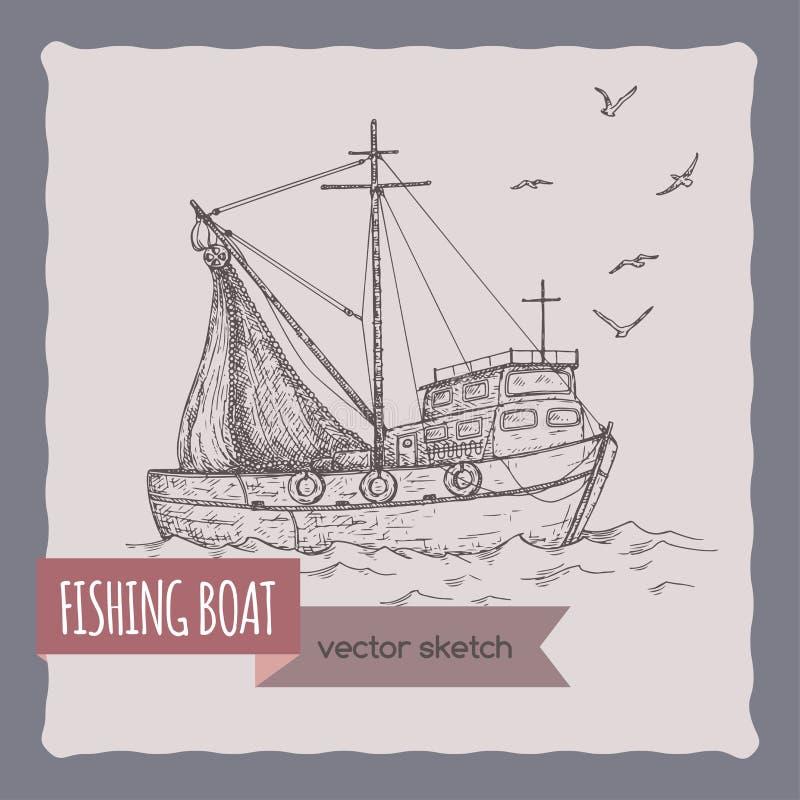 Αλιευτικό σκάφος με το σκίτσο διχτυών διανυσματική απεικόνιση