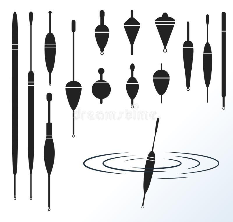 αλιεύοντας επιπλέον σώμα Διανυσματικό σύνολο αλιευτικού εργαλείου μαύρες σκιαγραφίες διανυσματική απεικόνιση