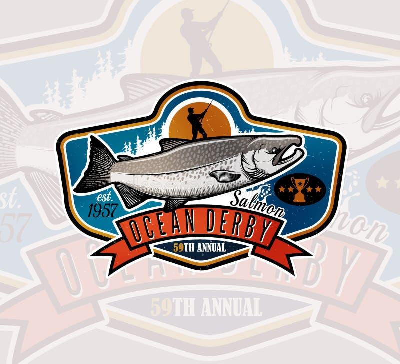 Αλιεύοντας διανυσματικό λογότυπο Εικονίδιο ψαριών σολομών απεικόνιση αποθεμάτων