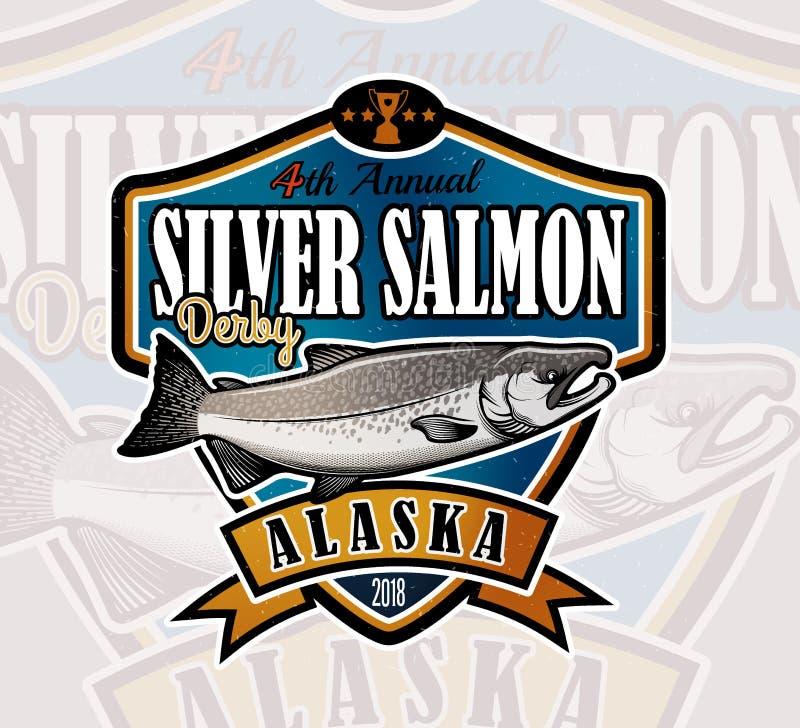 Αλιεύοντας διανυσματικό λογότυπο Εικονίδιο ψαριών σολομών διανυσματική απεικόνιση
