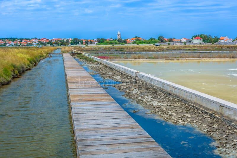 Αλμυροί τομείς στη Nin, Κροατία στοκ εικόνες