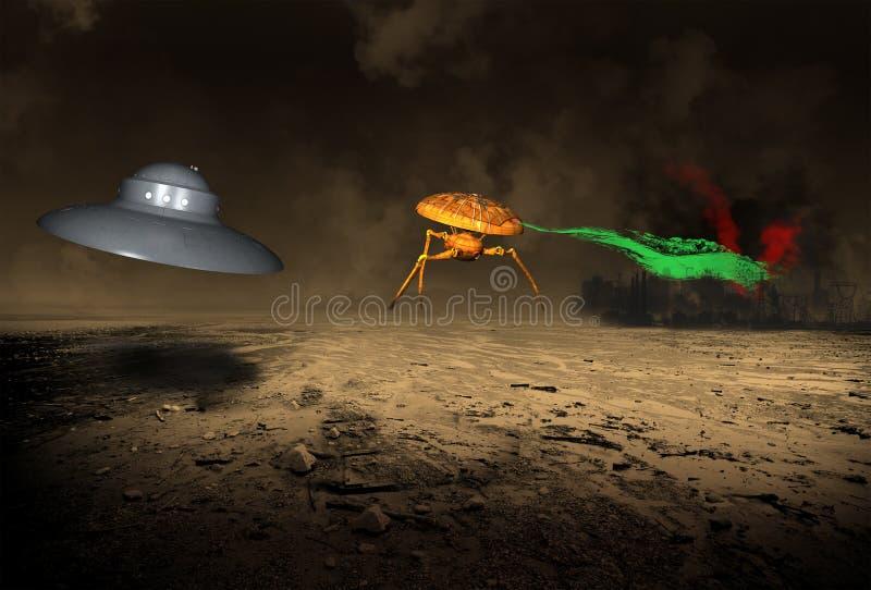 Αλλοδαπή γη επίθεσης UFO Αριανοί απεικόνιση αποθεμάτων