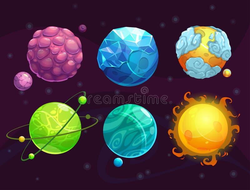 Αλλοδαποί πλανήτες φαντασίας κινούμενων σχεδίων καθορισμένοι διανυσματική απεικόνιση