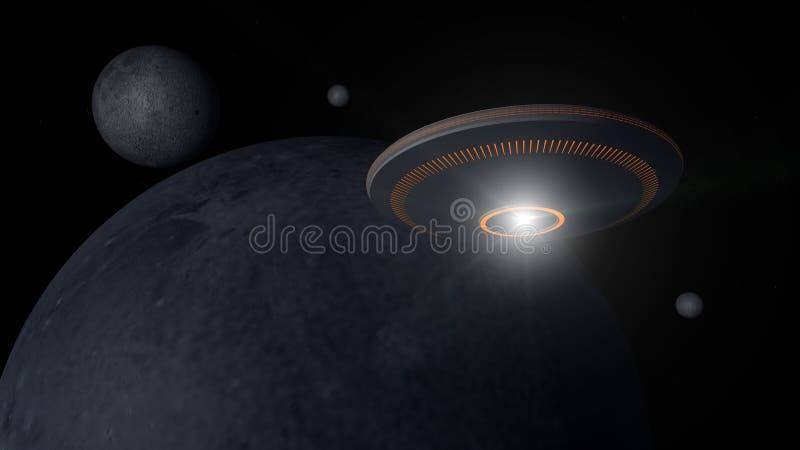 Αλλοδαπός και πλανήτης διαστημοπλοίων UFO στοκ εικόνα
