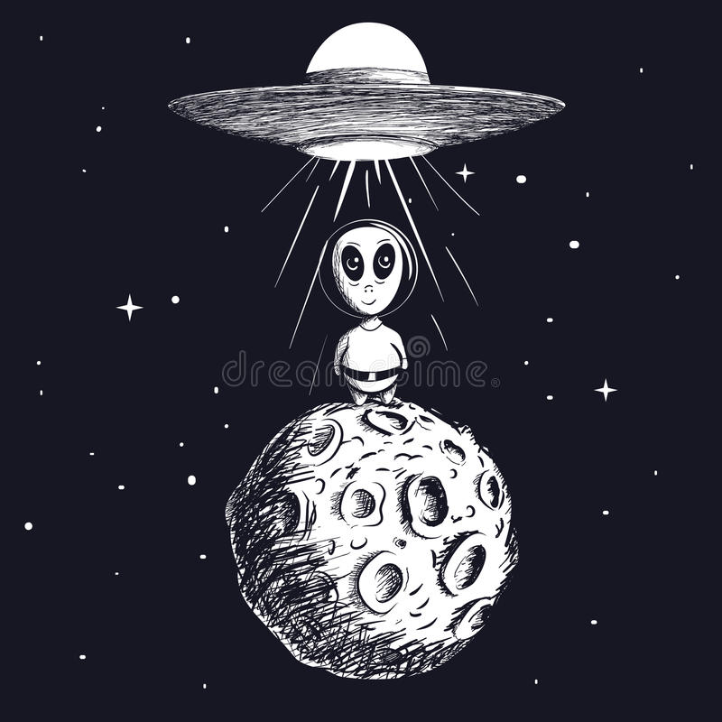 Αλλοδαπός που προσγειώνεται στο φεγγάρι από το ufo ελεύθερη απεικόνιση δικαιώματος