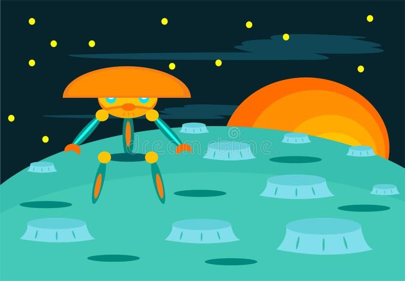 Αλλοδαπός πολεμιστής ρομπότ με τα διαστημικά κινούμενα σχέδια υποβάθρου διανυσματική απεικόνιση