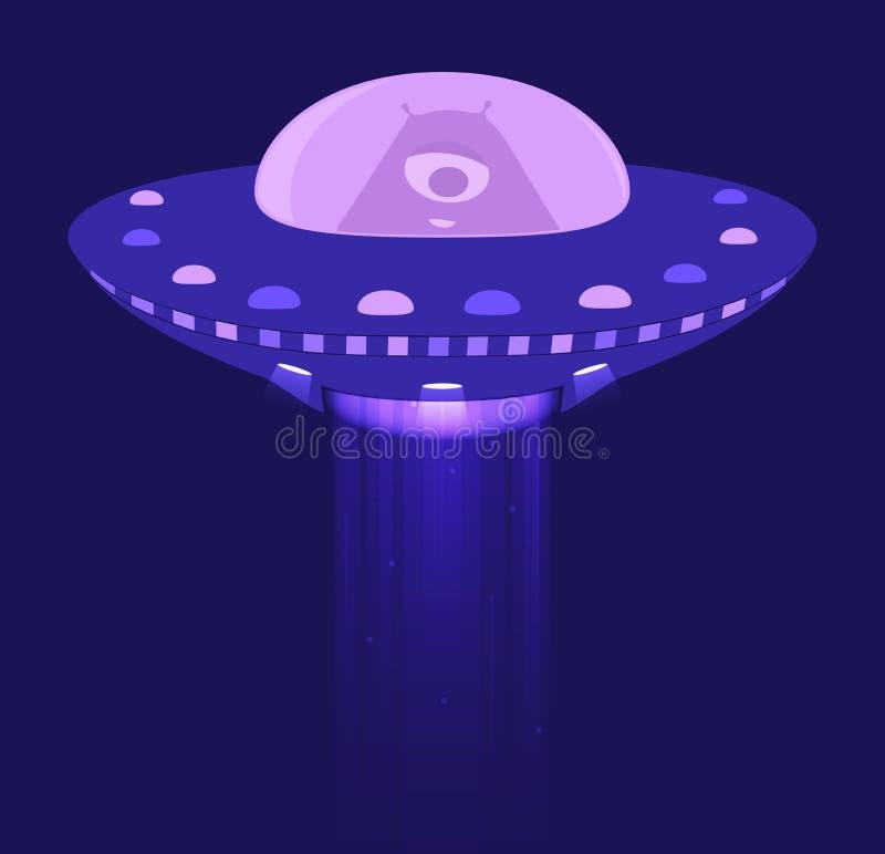 Αλλοδαπός στο διαστημόπλοιο διανυσματική απεικόνιση